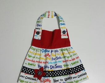 Little Girl Bib/Apron with Dr. Suess fabric
