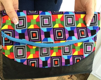 Multi color foldover style clutch purse