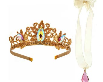 Princess Aurora Crown Set with Gems , Girl's Princess or Queen Crown, Birthday, Cosplay Headpiece, Fits Girls and Women, Made-to-Order