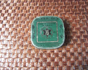 Vintage 1940's Burroughs Adding Machine Ribbon Tin With Six Sided Star Logo