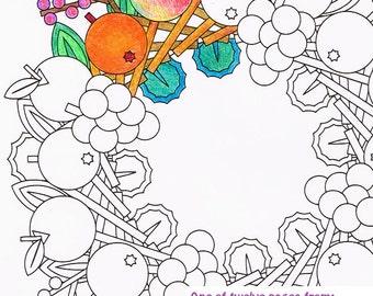 Mandala Coloring Page - Fruit Wreath - printable wreath coloring page - adult coloring pages - seasonal harvest decoration