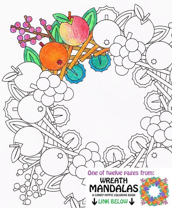 Mandala Coloring Page   Fruit Wreath   Printable Wreath Coloring Page    Adult Coloring Pages   Seasonal Harvest Decoration