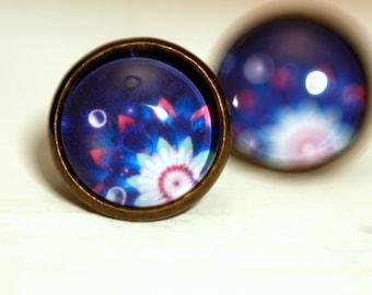 Stud earrings, 12 mm, flower, abstract, blue