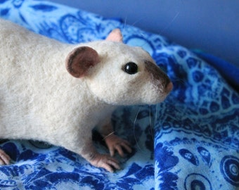 Rat soft sculpture MADE TO ORDER Needle felted fancy rat, Wool pet toy figurine, Handmade Ooak art animal doll plushie
