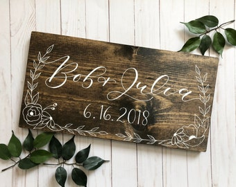 Couple's Names sign . Last Name Sign . family plaque . wedding sign .  hand lettered sign . calligraphy wedding gift . hand drawn florals