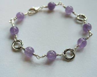 Amethyst Gemstone Sterling Silver Love Knot Bracelet
