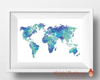 World cross stitch pattern Watercolor cross stitch Map silhouette embroidery chart Modern Counted cross stitch Home sweet home Funny PDF