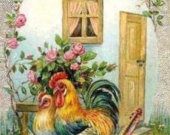 Love Nest Roosters Cross Stitch Pattern PDF