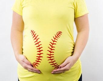 Baseball or (Softball) Gender Reveal Shirt, Funny Maternity Tee, Halloween Maternity Tank Top or Tee, Softball Mom shirt, Jersey