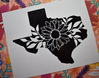 Floral Texas foil print - home decor - state wall decor - United States art