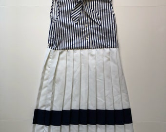Vintage Navy Pleated Dress with Ascot Kids (10/12)