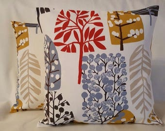 "16"" 18"" 20"" New Cushion Cover Fruit Tree Blossom Red Mustard Print Handmade"