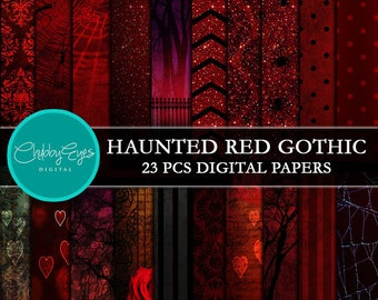Red Heart Gothic Digital Papers,  Halloween Scrapbook Papers, Glitter Papers, Haunted Clip Art Papers -Instant Download