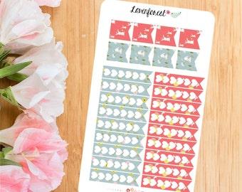 Bunny heart checklist stickers|flag stickers|heart planner stickers|watercolor planner stickers|HC003