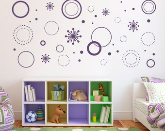 Superb Crazy Circles Wall Decal   Circle Wall Art   Starburst Decals   Girl  Bedroom Decal Set