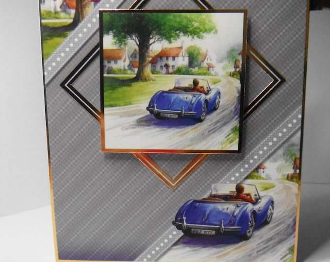 Blue Sports Car  Birthday card, Greeting card, Driving Scene, Village Scene, Suitable for Dad, Brother, Son, Uncle, Nephew, Grandad