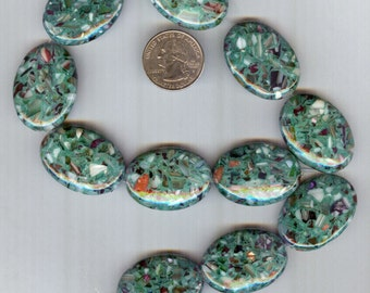 34mm Stunning Teal Green Mother of Pearl Puffed Oval Pendant Beads Grade A 6pcs
