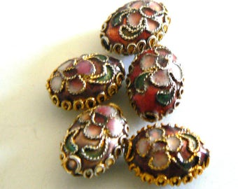 9pc 9.5x12.5mm Handmade Cloisonne Olive Bead Flower Gold Purple Red b2938 1