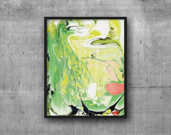Art Print 8x10 Marble ~ Green, Chartreuse, Coral
