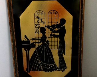 Vintage silhouette art, musical couple, silhouette on glass, wood frame, 9x13 inch art, violin and piano, musical artwork, 1940s decor