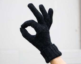 Full finger gloves finger alpaca gloves winter black gloves knitted gloves with fingers alpaca wool gloves womens gloves mens gloves womens
