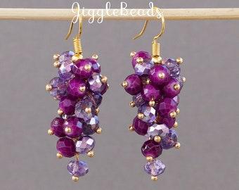 Purple cluster, drop earrings, chandelier earrings, cluster earrings, purple earrings, dangle earrings, purple jewelry, purple chandelier