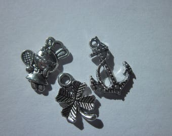 3 different shapes silver 15 to 18 mm-(6200) charms-