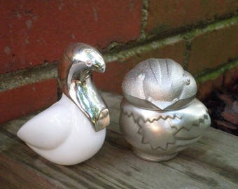 Vintage Avon White Dove & Bird Perfume Bottle / Decanter - Retro Home Decor White + Silver Glass Duck / Chicken / Swan Empty Bottle Figurine