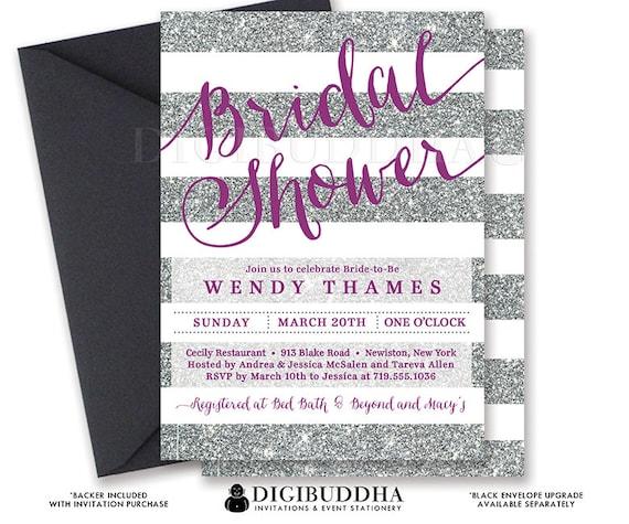 Plum And Silver Wedding Invitations: SILVER & PURPLE BRIDAL Shower Invitation Stripes Printable