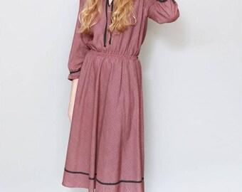 Vintage 1970's Red Check Print Boho Midi Dress