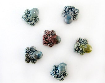 Peruvian Ceramic Raku Small Octopus Beads