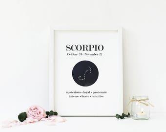 Scorpio Zodiac Sign, Scorpio Constellation, Star Sign, Astrology Printable Wall Art, Birthday Gift, Digital Print, Home Decor, Download