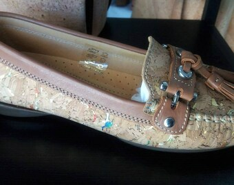 Cork Loafers Shoes - Natural Cork Shoes - 100% Cork and Leather Shoes - Women's Shoes