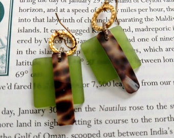sea glass and shell  summer earrings