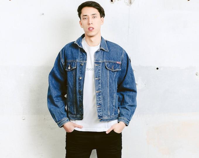 90 Jean Jacket . Vintage Men Denim Trucker Jacket Medium Wash 90s Casual Jacket Blue Grunge Jacket Outerwear Boyfriend Gift . size Medium M