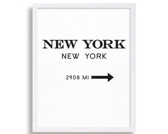 New York City Art Print Modern Art Living Room Decor Black and White Wall Art NYC Sign NYC Print Large Art Poster Subway Sign Manhattan Art