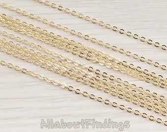 CHN001-G // Glossy Gold Plated Small Cable Chain, 1 Meter.