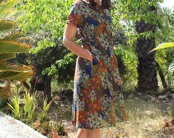 Vintage Japanese bohemian floral print dress