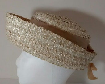 Vintage Ladies Straw Hat, Sun, Spring, Summer, Church, Union Made in USA
