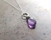 Amethyst necklace sterlin...