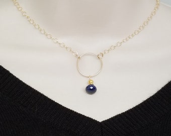 Sapphire O Symbolic Slave Necklace Collar in 14kt Gold Fill with Ruby Accent at Clasp