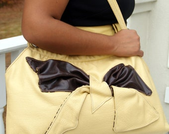 Desert Sand Tan Yellow and Chocolate Brown Large Leather Tote Shoulderbag Hobo Handbag