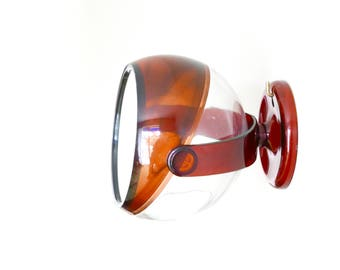 Wall hanging spheric make up mirror, 1970s / bathroom, Made in Hong Kong, Brown, Pop, Space age, Modern