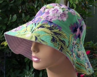 Womens Chemo Hat Wide Brim Hat Made in the USA Sun Hat Alopecia Hat MEDIUM