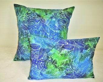 Blue Green Leaves Pillow Cover Dyed Batik Nature Rain Forest Boho Bohemian