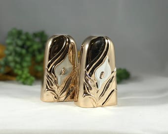 Vintage Cala Lily salt and pepper shakers Gold-tone