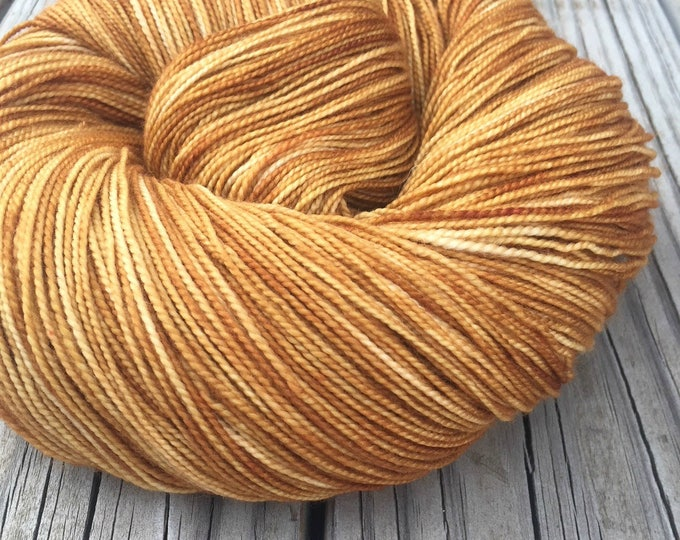 hand dyed sock weight yarn Why Is the Rum Gone Shawl Length Super Superwash Merino Cashmere Nylon MCN 600 yards fingering weight goldenrod