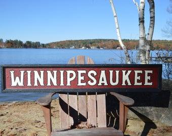 Lake Winnipesaukee  Sign   Lake Winnisquam   Squam Lake   Newfound Lake   Rustic Lake Sign   Lake House Decor   New Hampshire Sign
