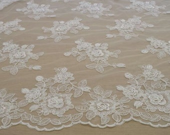 Ivory lace fabric French Lace Embroidered lace Wedding Lace Bridal lace White Lace Veil lace Lingerie Lace Alencon Lace KSBY81415C