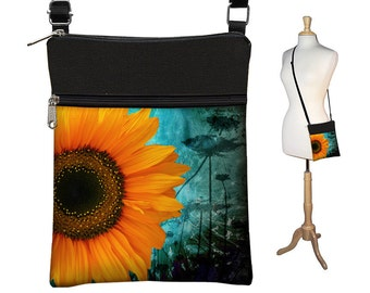 Small Cross Body Purse,  Hipster Crossbody Bag, Sling Shoulder Bag,  eReader case cover,  Rustic Sunflower Floral, blue, yellow, black RTS